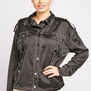 Top Stitched Black Shacket