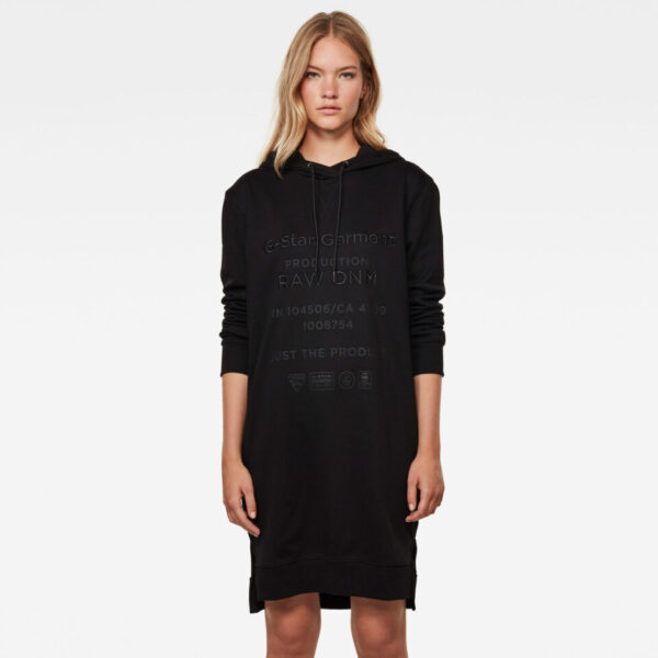 Graphic Text BF Hooded Dress - Black - Women