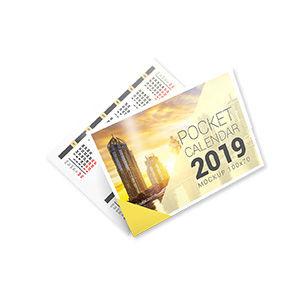 Карманный календарик, Мелованная Матовая 350 г, Глянцевый УФ-лак по лицу