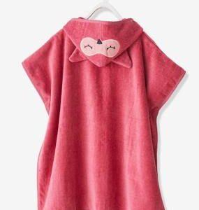 Bath Poncho, Owl pink