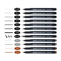 Fineliner Drawing Pens πpe; Fine tip (0.05-0.8mm) πpe; Mix and Match - Pick 3 - by Zieler