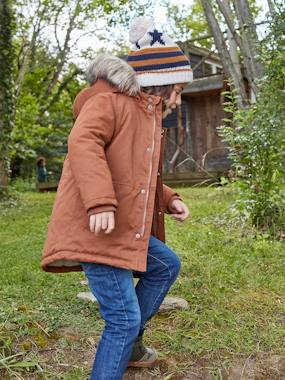 Hooded Parka with Recycled Polyester Padding, for Boys brown