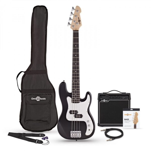 LA Bass Guitar + 15W Amp Pack Black