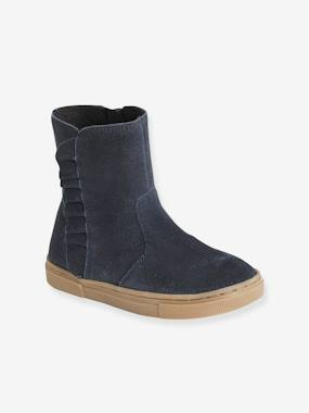 Leather Boots for Girls, Designed for Autonomy dark blue