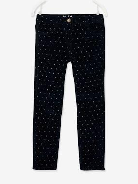 MorphologiK Slim Leg Corduroy Trousers with Iridescent Dots for Girls, Wide Hip dark blue/print
