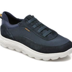 Pantofi sport GEOX bleumarin, U16BYB, din material textil si piele intoarsa