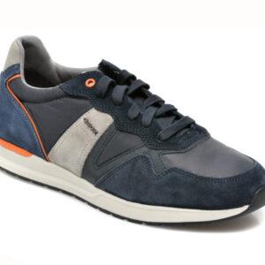 Pantofi sport GEOX bleumarin, U16DBB, din material textil si piele naturala
