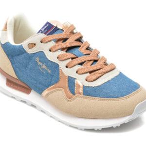 Pantofi sport PEPE JEANS albastri, LS31282, din material textil si piele intoarsa