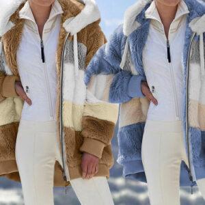 Striped Faux Fur Hooded Jacket | Black | 8/18 UK