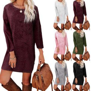 Women's Loose-Fit Plush Dress | Black
