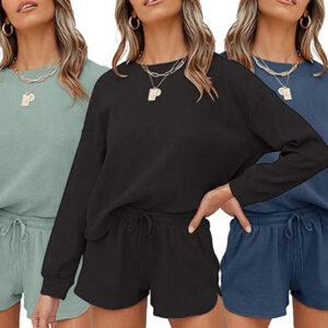 Women's Sweatshirt & Shorts Set Loungewear | Black