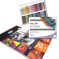 Zieler A3 Mixed Media Spiral Paper Pad πpe; 50 Soft Pentel Oil Pastels πpe; Bundle Set πpe; 09299357
