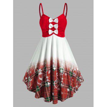 Bowknot Velour Plaid Snowflake Pattern Dress
