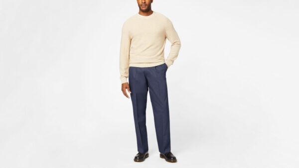 Dockers Signature Khakis, Pleated, Relaxed Fit Pants, Men's, Blue 36 x 30