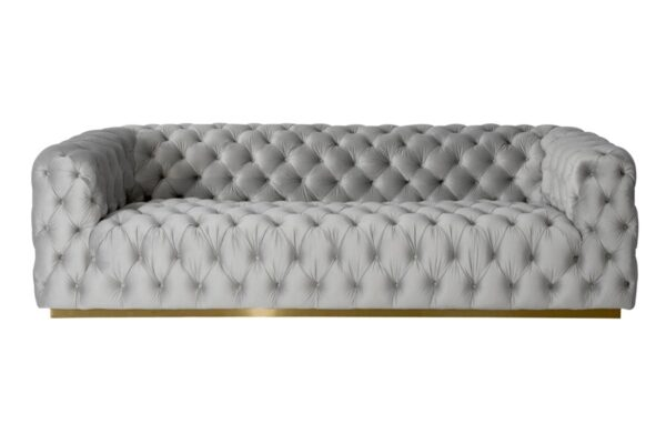 Frankfurt Four Seat Sofa - Dove Grey - Brass Base