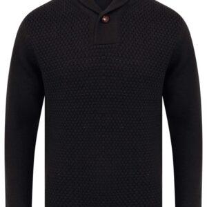 Jumpers Merrion Shawl Neck Textured Knit Pullover Jumper in Dark Navy - Kensington Eastside / XL - Tokyo Laundry