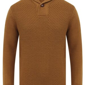 Jumpers Merrion Shawl Neck Textured Knit Pullover Jumper in Rubber Brown - Kensington Eastside / M - Tokyo Laundry