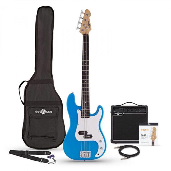 LA Bass Guitar + 15W Amp Pack Blue