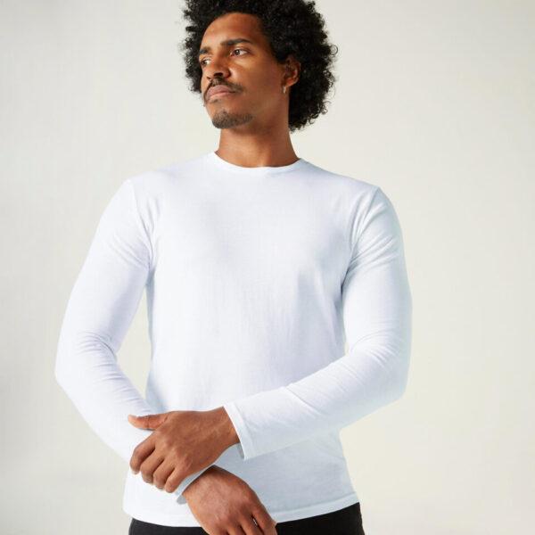 Men's Cotton Gym Long sleeve T-shirt Regular fit 100 - White - XL By DOMYOS | Decathlon