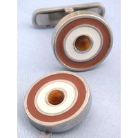 Orange White and Brown Catseye Target Cufflinks - 1+