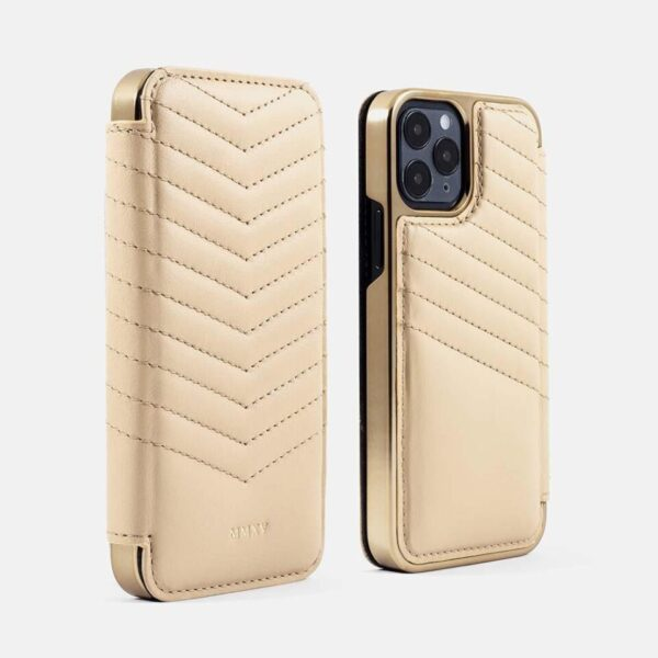 PORTLAND Quilted MagSafe Leather Case for iPhone 12 - Shortbread (Cream) / Gold Frame