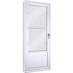 Porta com Postigo e Grade Mosaico Direita Facilità 215x90cm Branca